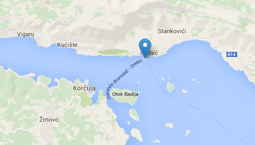 Orebic - Korcula town car ferry map