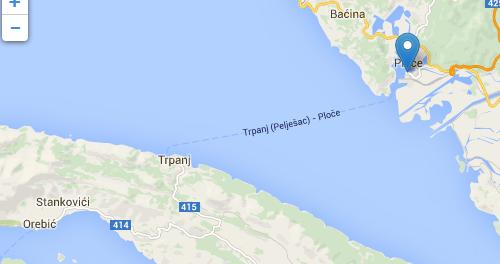 Ploce to Trpanj (Peljesac) ferry map