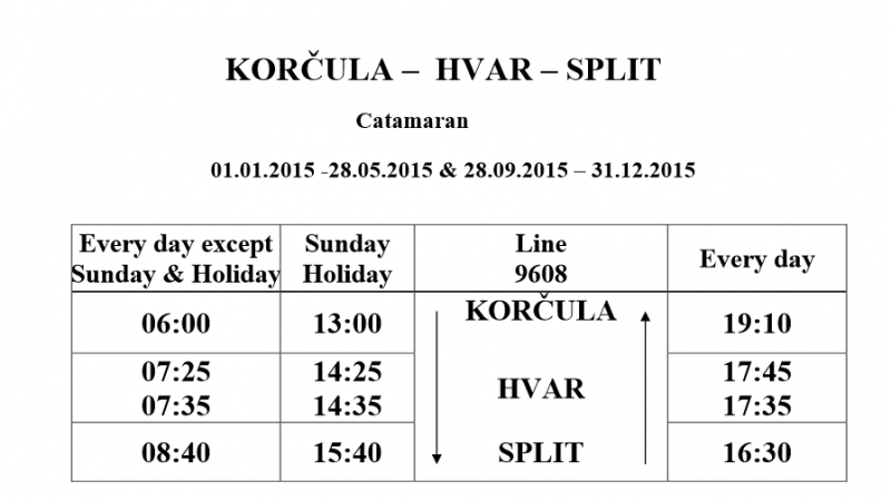 Split-Hvar-Korcula low season timetable