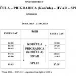 Korcula-Prigradica-Hvar-Split May to September timetable