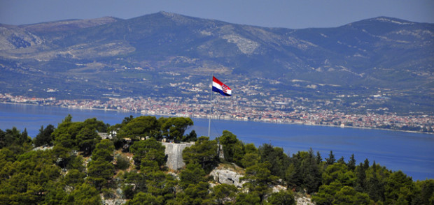 Croatian flag atop Marjan Hill