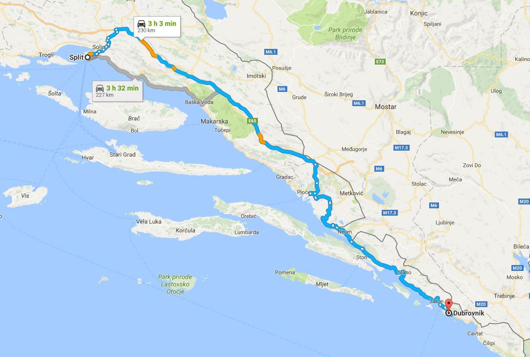 Split to Dubrovnik car route