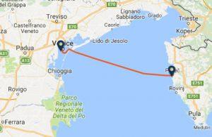Venice to Porec ferry route map