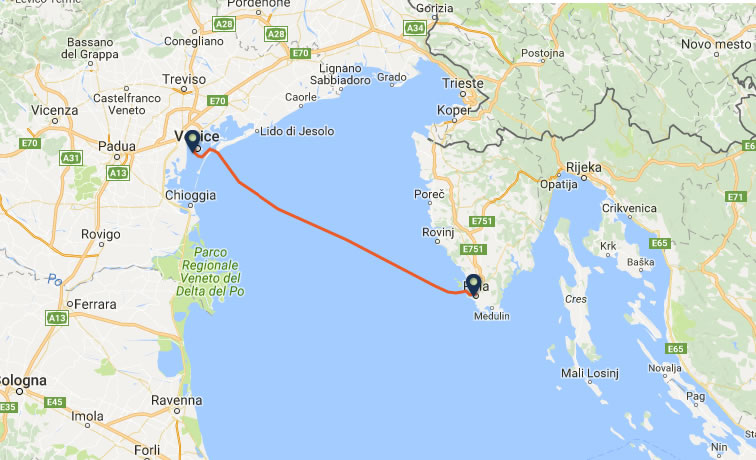 Venice to Pula ferry route map