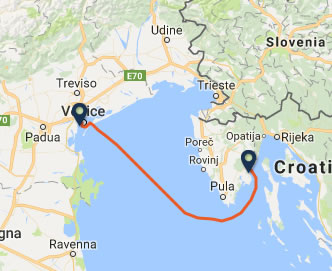Venice to Rabac ferry route map