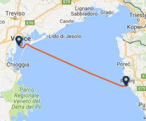 Venice to Rovinj ferry route map