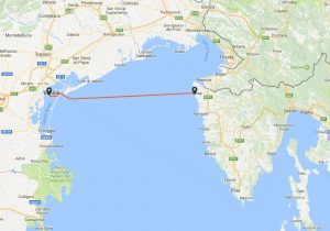 Venice to Umag ferry route map