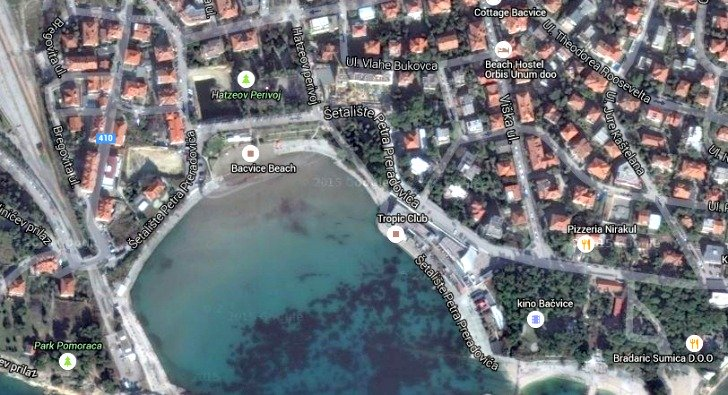 Bacvice beach map