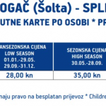 Rogač (Šolta) to Split ferry pricing
