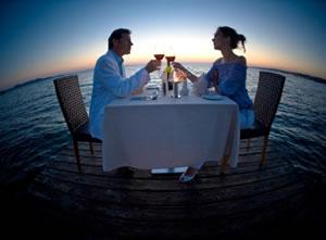 Romantic sunset dinner