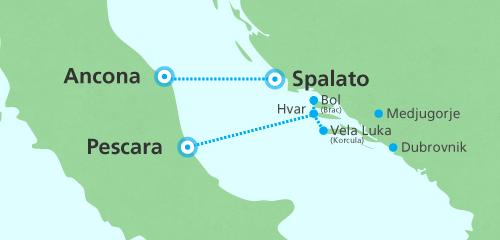 SNAV - Pescara Ancona Croatia mappa