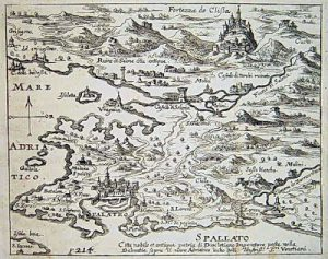 Split map with Klis fortress from 1678