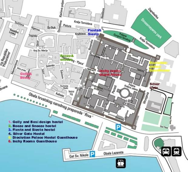 Split old town hostel locations