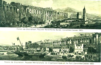 Old Split port and palace from 1802