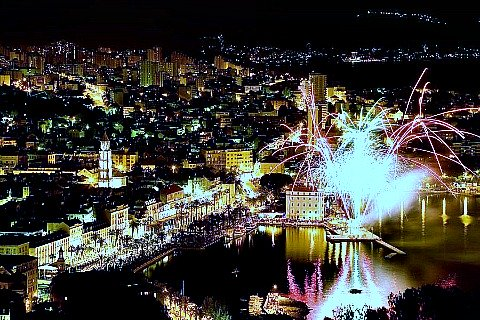 New Year's celebration on Split Riva