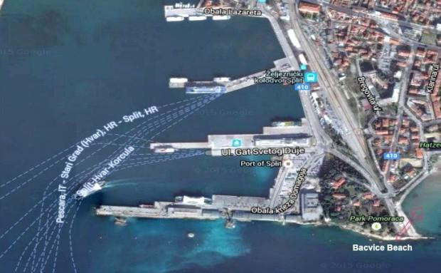 Split port (harbor) map