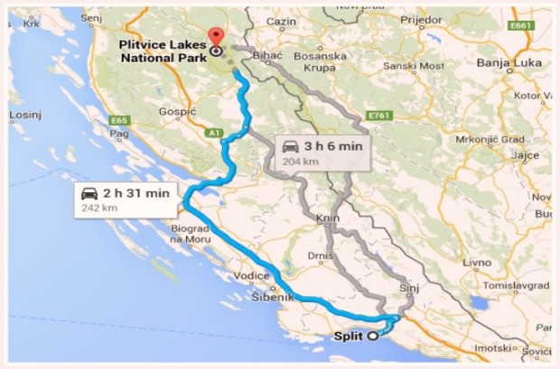 Split to Plitvice Lakes Map