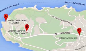 Valamar hotels in Dubrovnik map