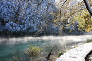 Snow in Plitvice Lakes