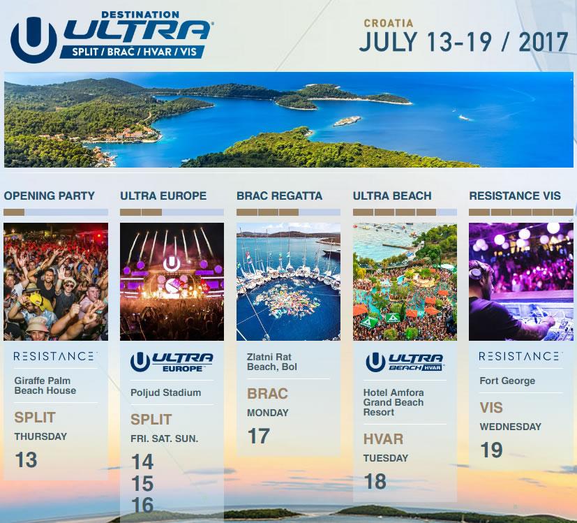 Ultra Europe 2017 schedule