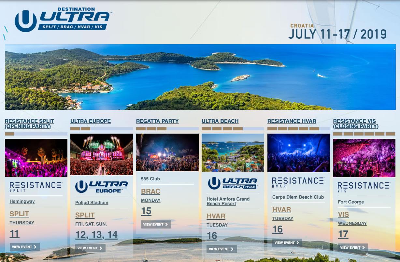 Ultra Europe 2019 schedule